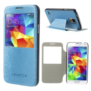Mouse Lines Window View Leather Case Stand for Samsung Galaxy S5 G900 - Baby Blue