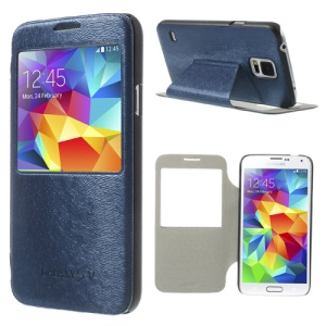 Window View for Samsung Galaxy S5 G900 Mouse Lines Leather Cover - Dark Blue