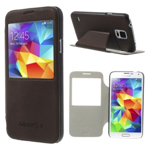 Window View for Samsung Galaxy S5 G900 Mouse Lines Leather Case Stand - Coffee