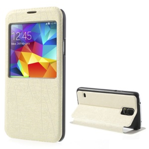 Beige Window View Graffiti Texture PU Leather Skin Case for Samsung Galaxy S5 G900
