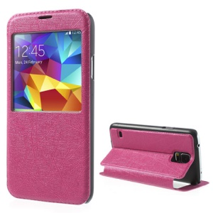Rose Graffiti Texture Window View Leather Stand Case for Samsung Galaxy S5 G900