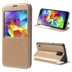 Gold Window View for Samsung Galaxy S5 G900 Graffiti Texture Stand Leather Shell