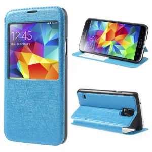 Blue Graffiti Texture Stand Leather Window View Case for Samsung Galaxy S5 G900