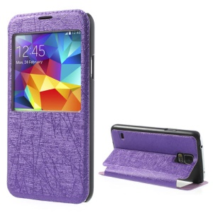 Purple Graffiti Texture Window View Leather Cover Case for Samsung Galaxy S5 G900