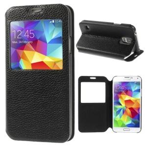 Black Doormoon Litchi Texture Top Layer Genuine Leather Window View Case w/ Stand for Samsung Galaxy S5 G900