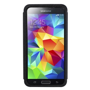 USAMS Touch Series Full Window View for Samsung Galaxy S5 G900 Stand Leather Case - Black