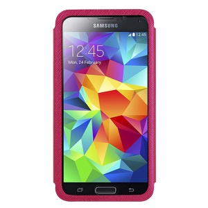 USAMS Touch Series Full Window View Leather Stand Case for Samsung Galaxy S5 G900 - Rose