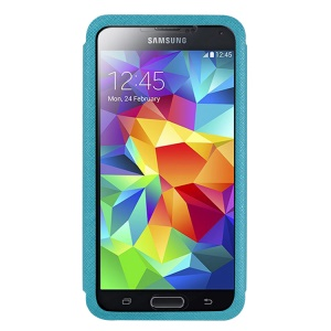 USAMS Touch Series Full Window View Leather Shell Stand for Samsung Galaxy S5 G900 - Blue