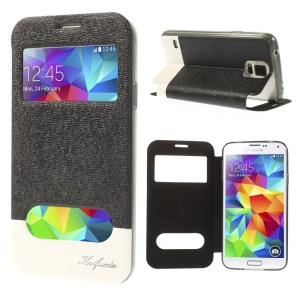 Black KAIFUXIN Two View Window Leather Stand Case for Samsung Galaxy S5 G900