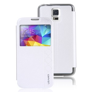 USAMS Starry Sky Series Window View Folio Leather Case for Samsung Galaxy S5 G900 - White