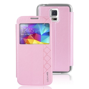USAMS Starry Sky Series Window View for Samsung Galaxy S5 G900 Leather Skin Case - Pink