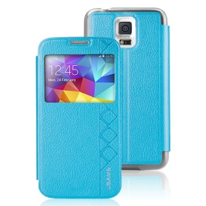 USAMS Starry Sky Series Window View for Samsung Galaxy S5 G900 Leather Cover Case - Blue