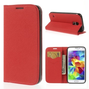 Cross Texture Leather Flip Cover Card Holder for Samsung Galaxy S5 G900 - Red