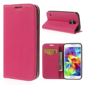 Cross Texture Leather Flip Cover Card Holder for Samsung Galaxy S5 G900 - Rose