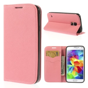 Cross Texture Magnetic Leather Wallet Cover for Samsung Galaxy S5 G900 - Pink