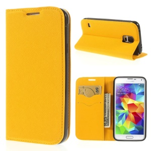 Cross Texture Magnetic Leather Stand Case for Samsung Galaxy S5 G900 - Yellow