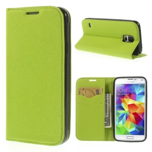 Cross Texture Magnetic Leather Stand Cover for Samsung Galaxy S5 G900 - Green
