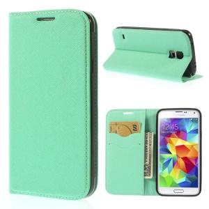 Cross Texture Leather Cover w/ Card Slots for Samsung Galaxy S5 G900 - Cyan