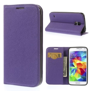 Cross Texture PU Leather Wallet Cover for Samsung Galaxy S5 G900 - Purple