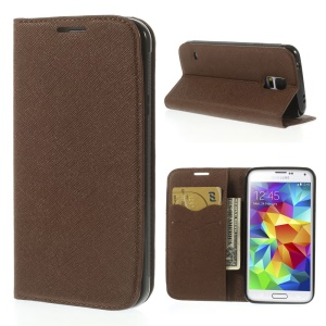 Cross Texture PU Leather Wallet Cover for Samsung Galaxy S5 G900 - Brown