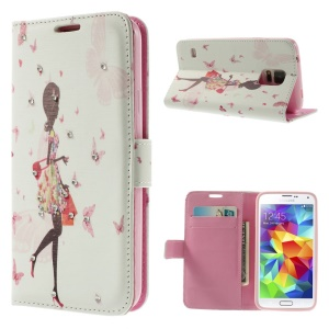 Pretty Girl & Butterflies Rhinestone Leather Wallet Cover for Samsung Galaxy S5 G900