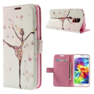 Dancing Girl & Butterflies Rhinestone Leather Wallet Cover for Samsung Galaxy S5 G900