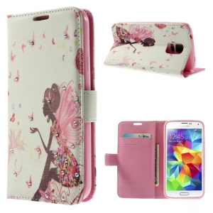 Girl with Wings & Butterflies for Samsung Galaxy S5 G900 Diamond Leather Wallet Case