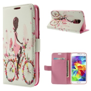 Girl Riding Bike & Butterflies for Samsung Galaxy S5 G900 Diamond Leather Wallet Case