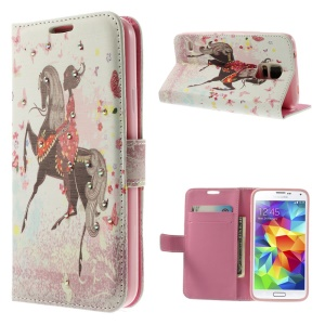 Girl Riding Horse & Butterflies for Samsung Galaxy S5 G900 Diamond Leather Wallet Case