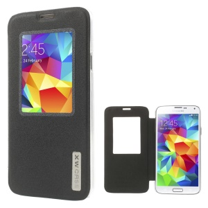 Xin Wan Viewing Window Sand-like Leather Cover for Samsung Galaxy S 5 G900 - Black