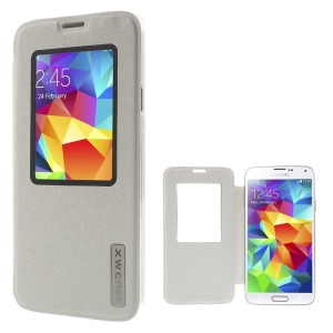 Xin Wan Viewing Window Sand-like Leather Cover for Samsung Galaxy S 5 G900 - White