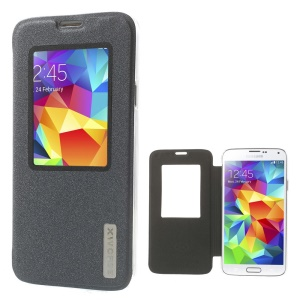 Xin Wan Viewing Window Sand-like Leather Cover for Samsung Galaxy S 5 G900 - Grey