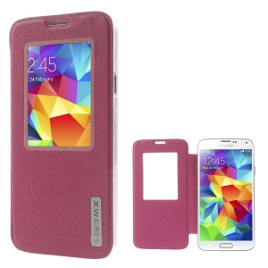 Xin Wan Viewing Window Sand-like Leather Case for Samsung Galaxy S5 G900 - Rose