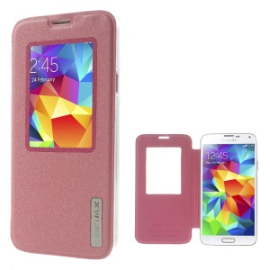Xin Wan Viewing Window Sand-like Leather Case for Samsung Galaxy S5 G900 - Pink
