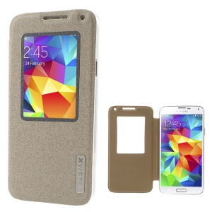 Xin Wan for Samsung Galaxy S5 G900 Viewing Window Sand-like Leather Case - Champagne