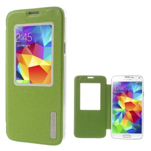Xin Wan for Samsung Galaxy S5 G900 Viewing Window Sand-like Leather Shell - Green