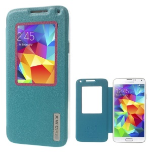 Xin Wan for Samsung Galaxy S5 G900 Viewing Window Sand-like Leather Shell - Blue
