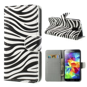 Zebra Design Leather Wallet Case Cover for Samsung Galaxy S5 G900 w/ Stand