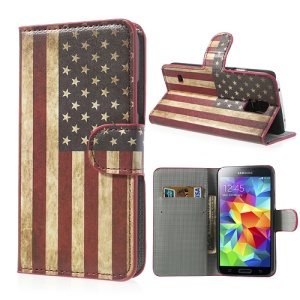 Vintage USA National Flag Leather Phone Case for Samsung Galaxy S5 G900