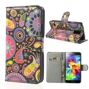 Colorful Flower Ribbon Stand Leather Cover for Samsung Galaxy S5 G900