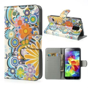 Colorful Flowers for Samsung Galaxy S5 G900 Wallet Leather Cover Case