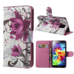 For Samsung Galaxy S5 G900 Beautiful Lotus Flower Wallet Leather Phone Case