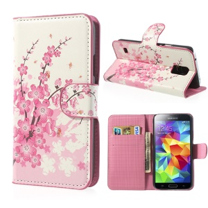 Pink Plum for Samsung Galaxy S5 G900 Wallet Leather Case Accessory