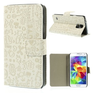 Cartoon Graffiti Leather Stand Cover for Samsung Galaxy S5 G900 - White