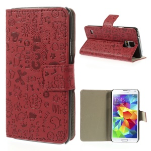 Cartoon Graffiti Leather Stand Shell for Samsung Galaxy S5 G900 - Red