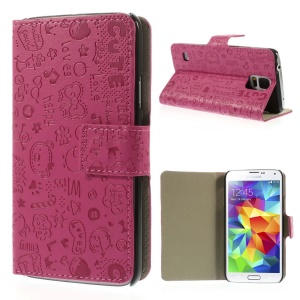 Cartoon Graffiti Leather Magnetic Shell w/ Stand for Samsung Galaxy S5 G900 - Rose