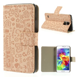 Cartoon Graffiti Leather Magnetic Case w/ Stand for Samsung Galaxy S5 G900 - Pink