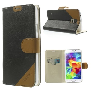 Contrasting Color Leather Stand Case for Samsung Galaxy S5 G900 with Card Slots - Black