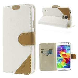 Contrasting Color Leather Stand Case for Samsung Galaxy S5 G900 with Card Slots - White