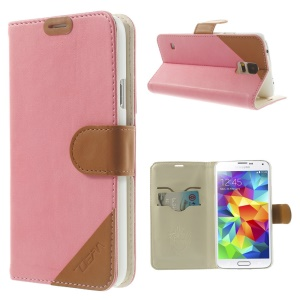 Contrasting Color Leather Stand Case for Samsung Galaxy S5 G900 with Card Slots - Pink